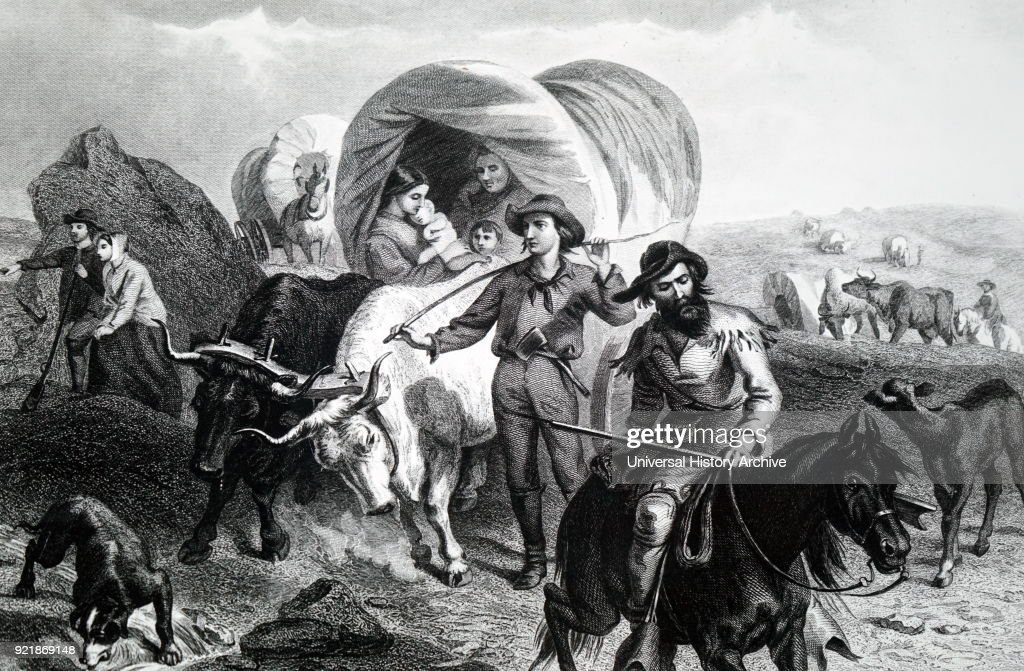 Print depicting emigrants crossing the Plains in America, travelling in covered wagons. Dated 19th century.