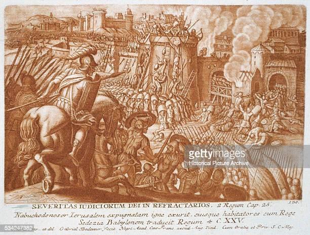 Print Depicting King Nebuchadnezzar of Babylon Laying Siege to Jerusalem