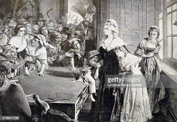 Print depicting Marie Antoinette Queen consort of France and Navarre and wife of King Louis XVI besieged by a mob in the Tuileries Dated 18th Century