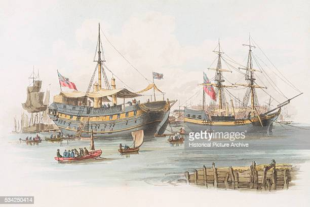 Print Depicting Prison Ships by William Henry Pyne
