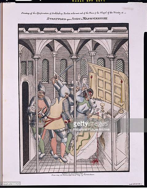 'Print Depicting the Assassination of Saint Thomas Becket after a Fresco at Holy Trinity Church StratforduponAvon '