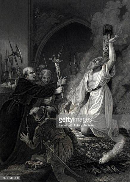 Print depicting the Martyrdom of Archbishop Thomas Cranmer a leader of the English Reformation and Archbishop of Canterbury. Dated 16th Century.
