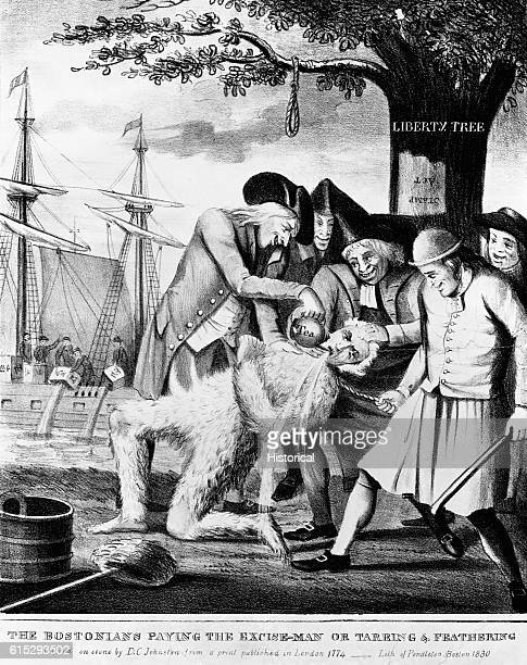 Print depicting the tarring and feathering of Boston Commissioner of Customs John Malcolm under the Liberty Tree by American patriots The Boston Tea...