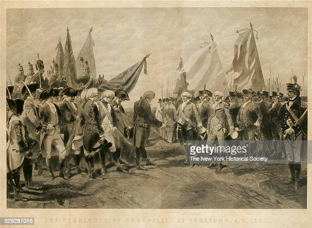 Print depicts the surrender of the British forces after the Battle of Yorktown 1870 Major General O'Hara substituting for General Cornwallis is shown...