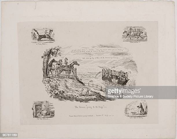 Print designed etched and published by George Cruikshank A satire on the invention of the steam carriage it shows four horses commenting as such a...
