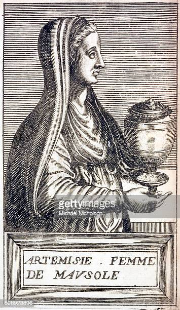 A print from 1585 of Artemisia Queen of Cara As widow of Mausolus she erected the Mausoleum of Helicarnassus one of the Seven Wonders of the Ancient...