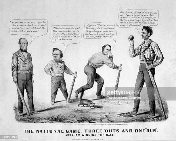A print issued by Currier Ives company in New York presents a baseball theme to observe issues and opinions on the 1860 US presidential election of...