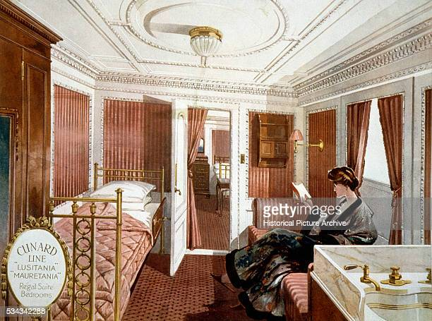 Print of a Regal Suite Bedroom Aboard the Lusitania
