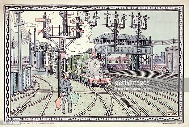A print of a signalman at work as a steam locomotive approaches