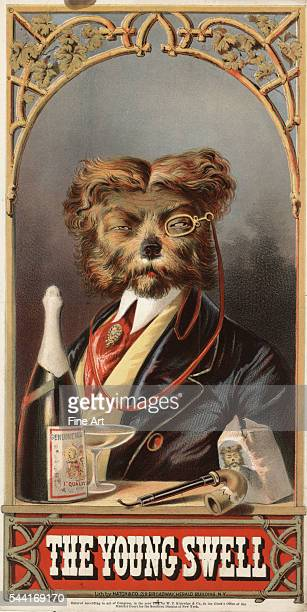 Print of a tobacco label showing a headandshoulders portrait of a dog dressed as a man circa 1869