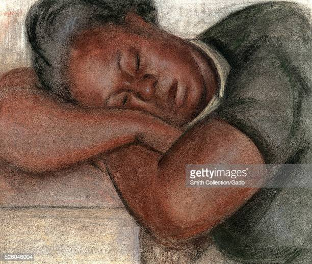 "Print of an African-American woman sleeping, titled ""Negro Girl"", by Sam Swerdloff, as part of the Federal Arts Project sponsored by the Work..."