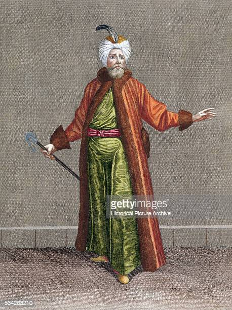 A print of an early 18th century engraving by Le Hay of a man from the nations of the Levant within the Ottoman Empire