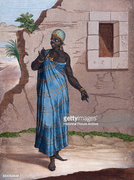 Print of an early 18th century engraving by Le Hay of a Moorish woman from the nations of the Levant, within the Ottoman Empire.