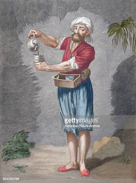 A print of an early 18th century engraving by Le Hay of a street coffee seller from the nations of the Levant within the Ottoman Empire