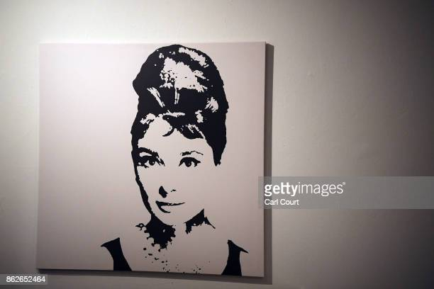 A print of Audrey Hepburn is displayed in the 'Noughties Room' of the IKEA house on October 17 2017 in London England The room is in the 'IKEA House...
