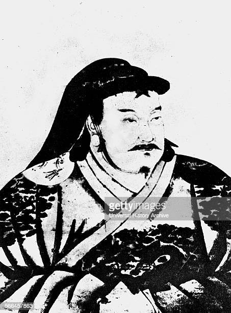 Print of Kublai Kahn Mongol Emperor of China Dated 13th Century