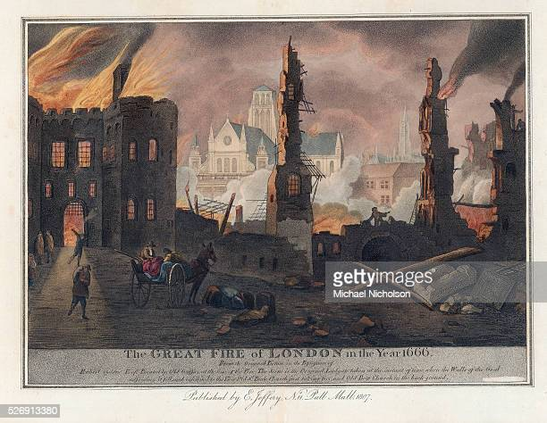 Print of the Great Fire of London showing the ruins of a wall near Ludgate prison, with Old St. Paul's Church and Old Bow Church in the background.