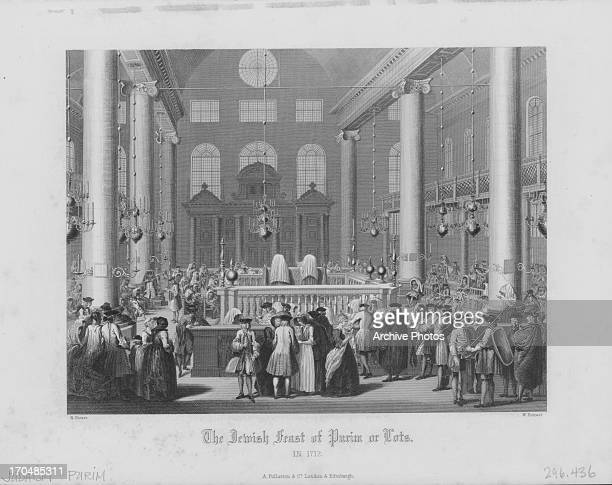 Print of the Jewish feast of Purim a Jewish holiday commemorating the deliverance of the Jews in the Persian Empire Portuguese Synagogue Amsterdam...