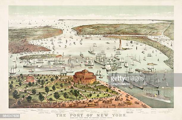Print of 'The Port of New YorkBirds Eye View from the Battery Looking South' 1892 Lithograph