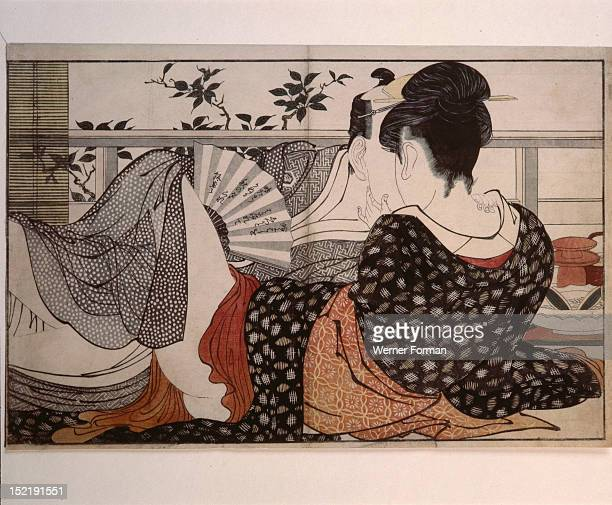 Print or ukiyo e which means literally portrait of the floating world It is by the famous artist Utamaro and is from the album Uta Makura Poem of the...