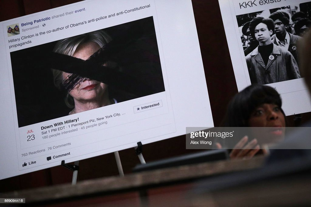A print out of a social media post targeting former Democratic presidential candidate Hillary Clinton is on display as Rep. Terri Sewell (D-AL) speaks during a hearing before the House (Select) Intelligence Committee November 1, 2017 on Capitol Hill in Washington, DC. The committee held a hearing on 'Russia Investigative Task Force: Social Media Companies.'