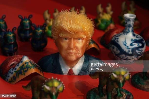 3D print outs including US President Donald Trump are seen during CES 2018 at the Las Vegas Convention Center on January 9 2018 in Las Vegas Nevada...