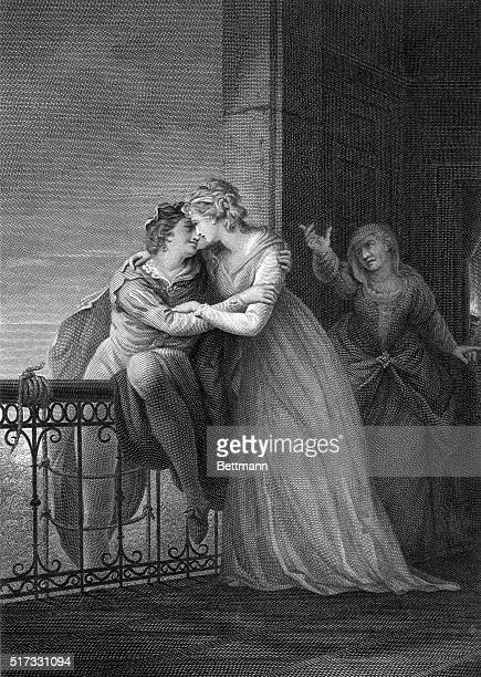 A print showing Act 3 Scene 5 from Romeo and Juliet by William Shakespeare This engraving is based after a painting by John Francis Rigaud