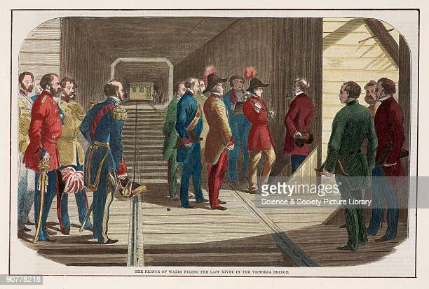 Print showing Albert Prince of Wales at the ceremony to open the Victoria Bridge at Montreal Canada The bridge was built to carry the Grand Trunk...