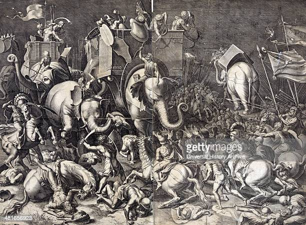 Print showing Scipio Africanus on horseback with Roman soldiers engaging Hannibal riding a war elephant during the battle of Zama 202 BC Engraving...