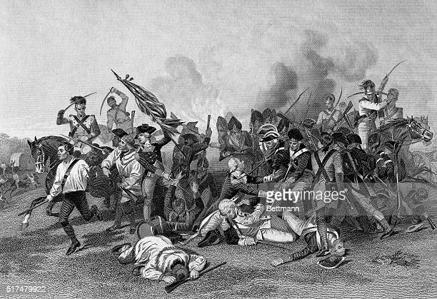 A print showing the death of Baron Johann De Kalb during the Battle of Camden based on an original 19thcentury painting by Alonzo Chappel