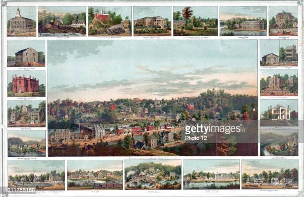 Print shows a bird's eye view of Ellicott's Mills; Maryland; small images of various buildings and factories in the town surround the central image....