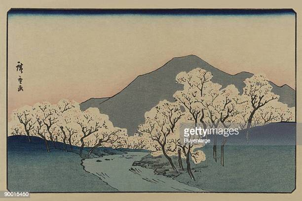Print shows a grove of blossoming cherry trees with mountain in the background Done by Ando Hiroshige between 1868 and 1926