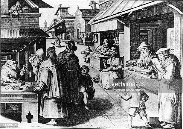 Print shows a street scene with customers examining spectacles at an eyeglass maker's shop children playing and other vendors all with glasses...