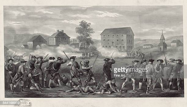 Print shows line of Minute Men being fired upon by British troops in Lexington, Massachusetts. Engraving, circa 1903.