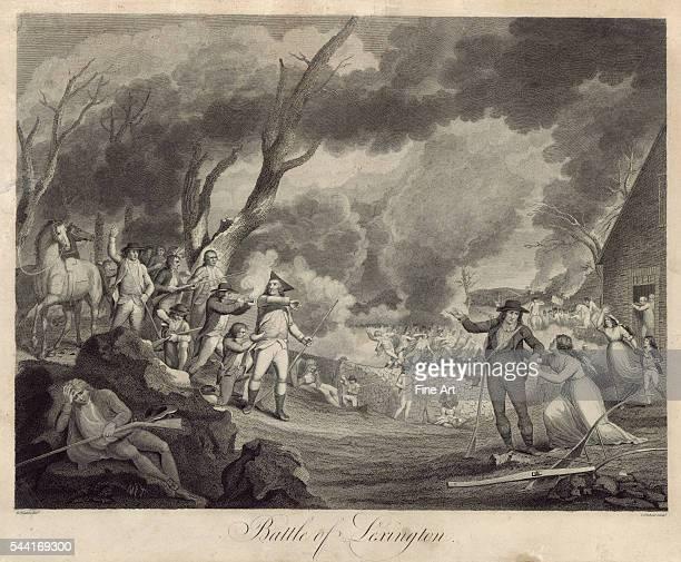 Print shows Minute Men firing on the British in Lexington, Massachusetts. Engraving, circa 1790s.