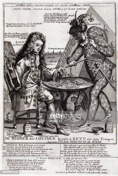 Print shows on the left Louis Duke of Burgundy identified as Louis Le Petit sitting at a table outside a tent In his right hand he appears to be...