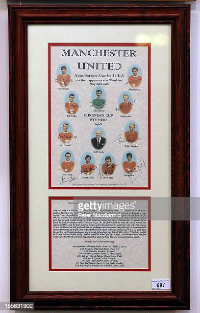A print signed by the Manchester United 1968 European Cup winning team is shown at Sotheby's on November 6 2012 in London England Graham Budd...