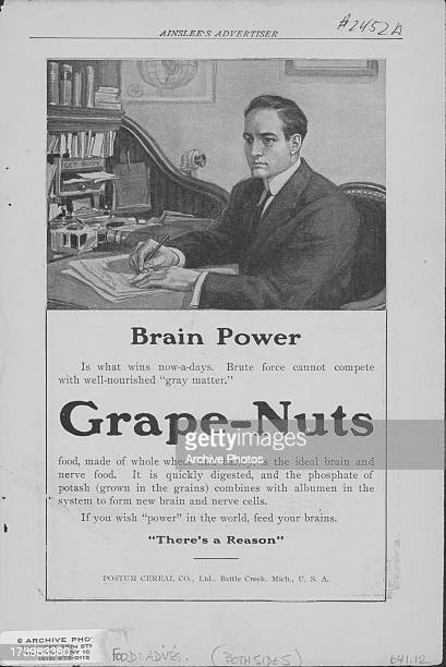 Printed advertisement for grape nuts as printed in Ainslee's Advertiser providing diet advice to increase brain power USA circa 19001930