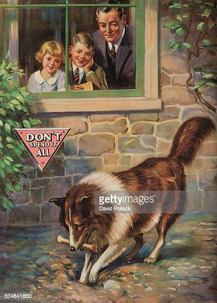 """Printed by """"National Service Bureau"""", Father and children watch trough window as dog buries a bone, symbolic of savings."""
