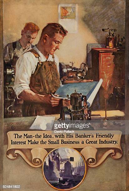 Printed by 'National Service Bureau' Man studies blueprints in preparation for working on small machine