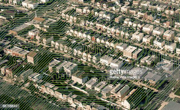 printed circuit over a suburb - queens new york city stock pictures, royalty-free photos & images
