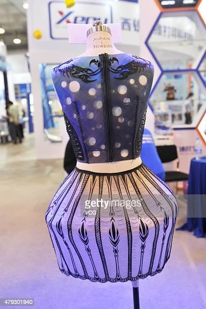 3D printed clothing is seen on China International Software Convergence Innovation Expo 2015 on July 3 2015 in Qingdao Shandong Province of China The...
