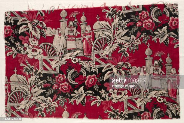 Printed Cotton with Egyptian Scene 1800s Creator Unknown
