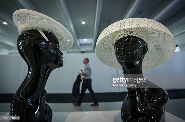 3D printed fashion goods are displayed during the 3D Printing Expo at Gallery Center 548 in New York on April 17 2015 3D Printing Expo will showcase...