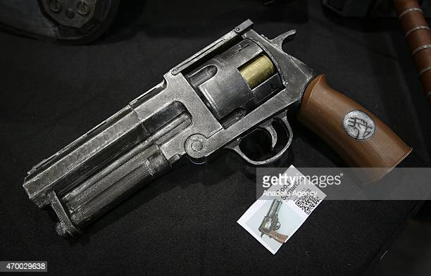 A 3D printed gun figure is displayed during the 3D Prints Design Show at Javits Center in New York on April 16 2015 The 3D Print Design Show taking...