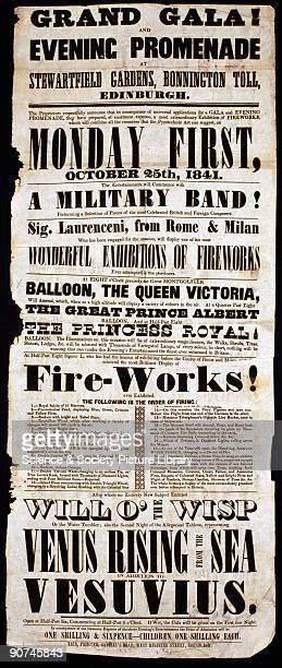 A printed handbill advertising a �Grand Gala and Evening Promenade� at Stewartfield Gardens in Edinburgh Scotland on 25 October 1841 The gala...