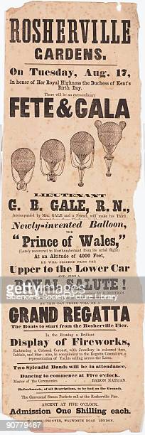 A printed handbill advertising Lieutenant George Burcher Gale�s balloon ascent from Rosherville Gardens in Gravesend Kent on Tuesday 17 August 1847...