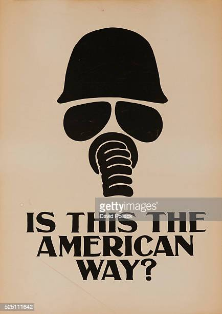 Printed in 1968 by students at the Rhode Island School of Design black hemleted soldier with gas mask over the words Is This the American Way