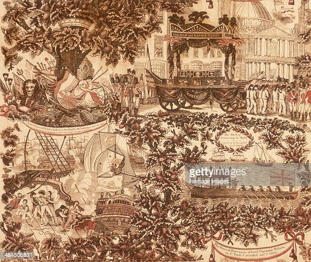 Printed linen panel depicting scenes from the life of Lord Viscount Nelson and his funeral procession 1806 Soldiers weapons plants a coffin a lion a...