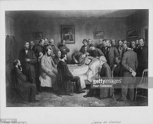 Printed lithograph depicting the death of President Abraham Lincoln surrounded his friends and colleagues in bed following an assassination attempt...